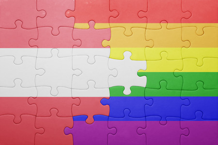 gay flag: puzzle with the national flag of austria and gay flag.
