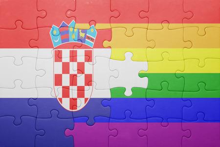 bandera gay: puzzle con la bandera nacional de Croacia y la bandera gay.