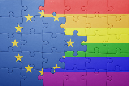 homosexual partners: puzzle with the national flag of european union and gay flag. Stock Photo
