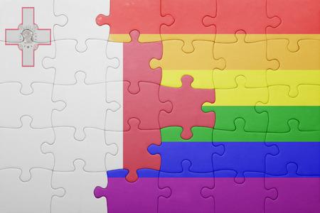 bandera gay: puzzle con la bandera nacional de malta y la bandera gay.