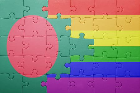 bandera gay: puzzle con la bandera nacional de Bangladesh y la bandera gay.