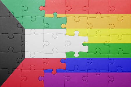 bandera gay: puzzle with the national flag of kuwait and gay flag. Foto de archivo
