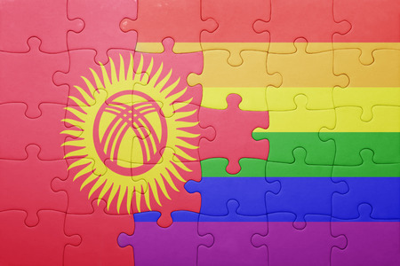 bandera gay: puzzle con la bandera nacional de Kirguistán y bandera gay.