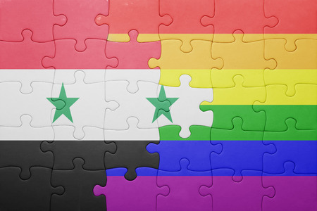 gay flag: puzzle with the national flag of syria and gay flag. Stock Photo