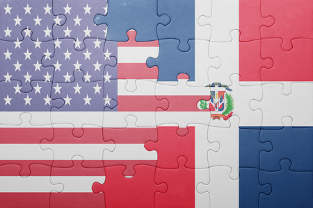 puzzle with the national flag of united states of america and dominican republic Stock Photo