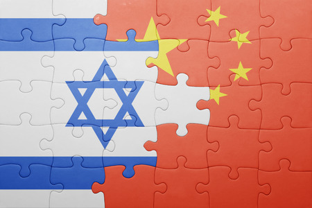 puzzle with the national flag of china and israel