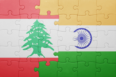 beirut: puzzle with the national flag of india and lebanon