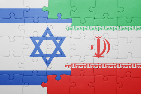 iran: puzzle with the national flag of iran and israel . concept Stock Photo