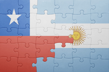 chilean flag: puzzle with the national flag of argentina and chile .concept
