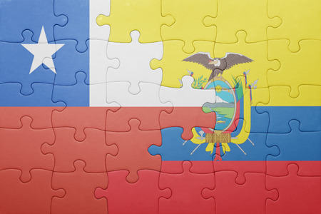 ecuadorian: puzzle with the national flag of ecuador and chile .concept Stock Photo
