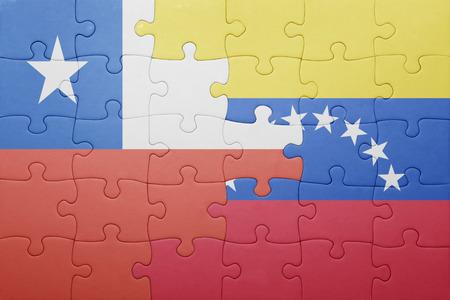 banderas america: puzzle con la bandera nacional de Venezuela y Chile .concept Foto de archivo
