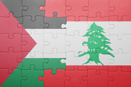 puzzle with the national flag of lebanon and palestine . concept