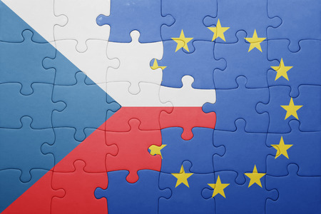 puzzel met de nationale vlag van Tsjechië en de Europese Unie