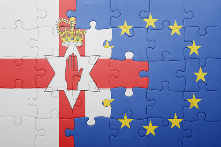 northern european: puzzle with the national flag of northern ireland and european union