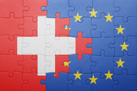 puzzle with the national flag of switzerland and european union