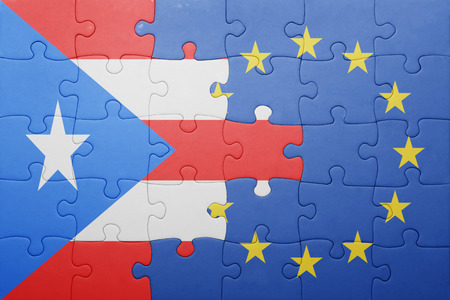 bandera de puerto rico: puzzle con la bandera nacional de Puerto Rico y la Unión Europea