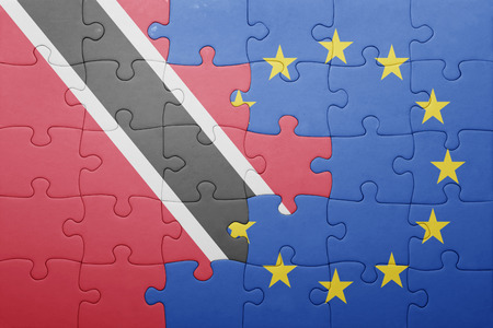 national flag trinidad and tobago: puzzle with the national flag of trinidad and tobago and european union