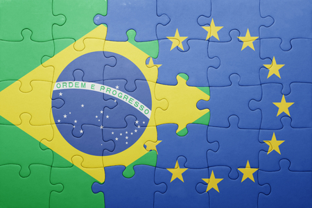 puzzle with the national flag of brazil and european union Stock Photo