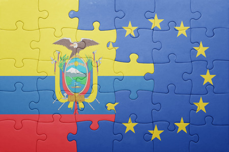 puzzle with the national flag of ecuador and european union