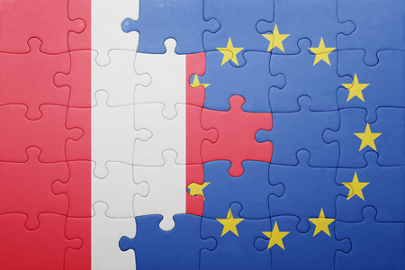 lima region: puzzle with the national flag of peru and european union Stock Photo