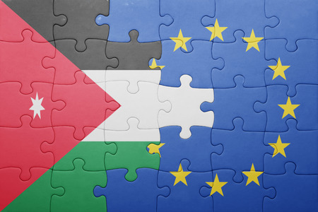 puzzle with the national flag of jordan and european union . concept