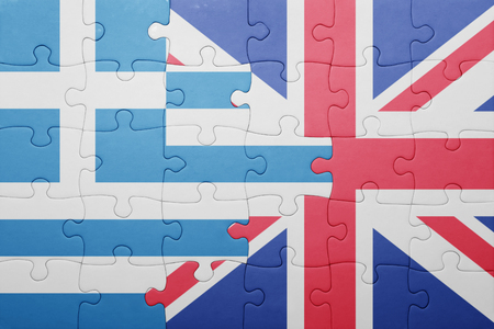 Greece: puzzle with the national flag of great britain and greece . concept