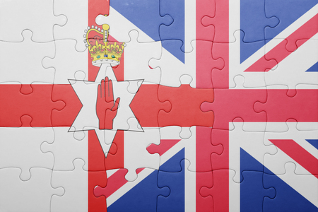 northern ireland: puzzle with the national flag of great britain and northern ireland . concept Stock Photo