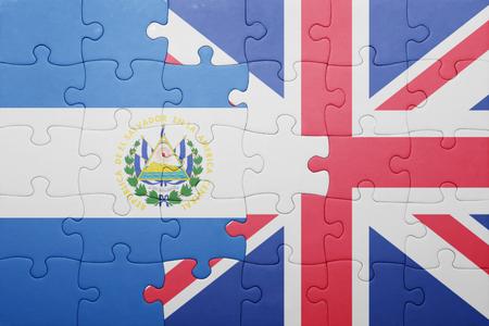 el salvadoran: puzzle with the national flag of great britain and el salvador . concept