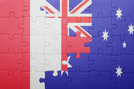 lima region: puzzle with the national flag of peru and  australia. concept