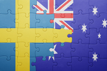 puzzle with the national flag of sweden and australia. concept Stock Photo - 49099172