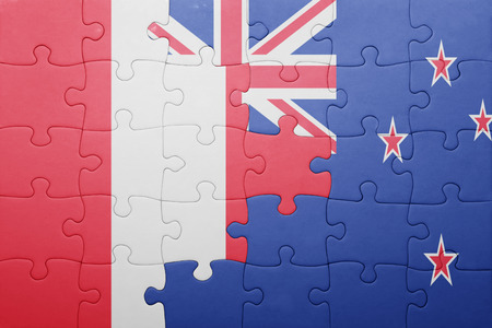 lima region: puzzle with the national flag of peru and new zealand. concept