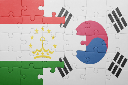 economy of tajikistan: puzzle with the national flag of tajikistan and south korea . concept