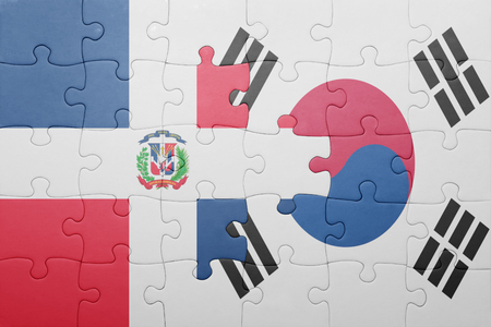 republic of korea: puzzle with the national flag of dominican republic and south korea . concept