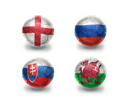 england: euro group B. realistic football balls with national flags of england, russia, slovakia, wales