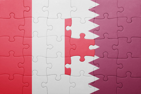 lima region: puzzle with the national flag of peru and qatar . concept Stock Photo