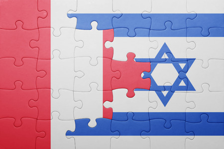 lima region: puzzle with the national flag of israel and peru . concept