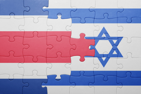 costa rican flag: puzzle with the national flag of israel and  costa rica. concept Stock Photo