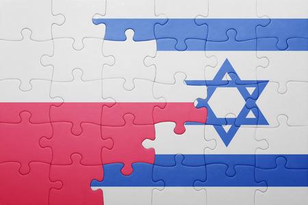 puzzel met de nationale vlag van Israël en Polen. concept Stockfoto