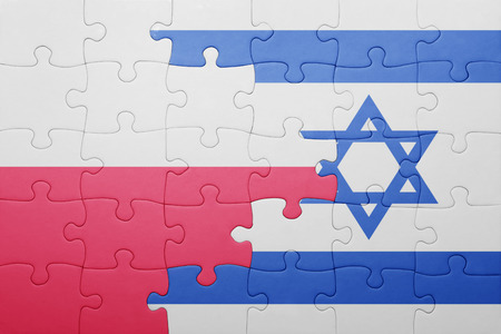 puzzle with the national flag of israel and poland . concept Stock fotó