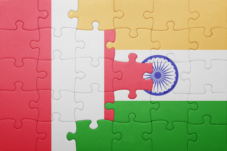 lima region: puzzle with the national flag of peru and india. cotncept Stock Photo