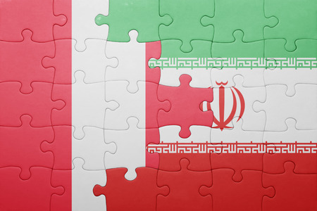 lima region: puzzle with the national flag of peru and iran . concept