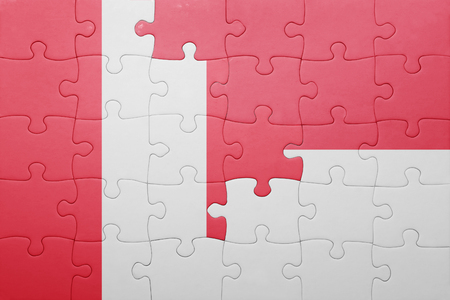 lima region: puzzle with the national flag of indonesia and peru . concept