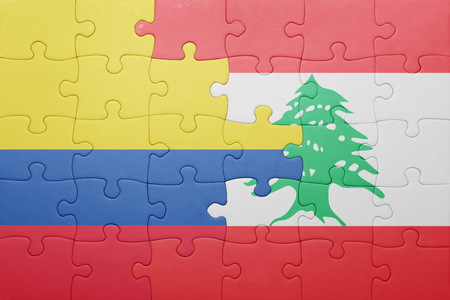 middle east conflict: puzzle with the national flag of colombia and lebanon . concept