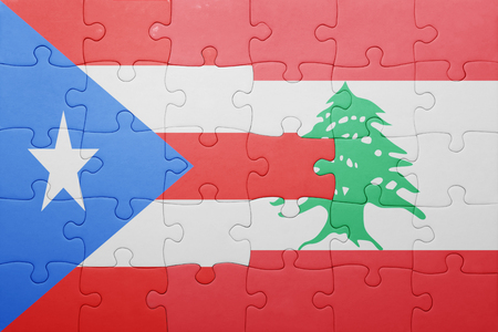 beirut: puzzle with the national flag of puerto rico and lebanon . concept
