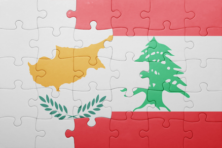 beirut: puzzle with the national flag of cyprus and lebanon . concept Stock Photo