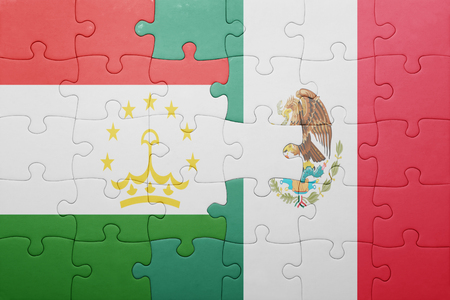 economy of tajikistan: puzzle with the national flag of tajikistan and mexico . concept
