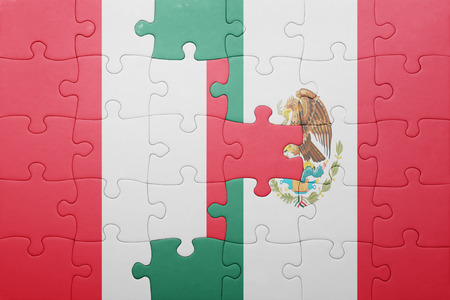 lima region: puzzle with the national flag of peru and mexico . concept