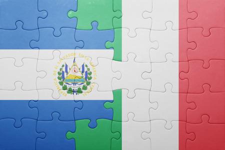 el salvadoran: puzzle with the national flag of italy and el salvador . concept