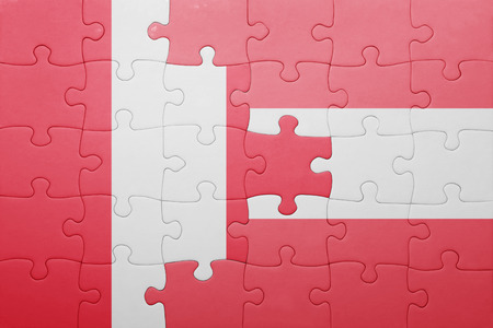 lima region: puzzle with the national flag of peru and austria . concept