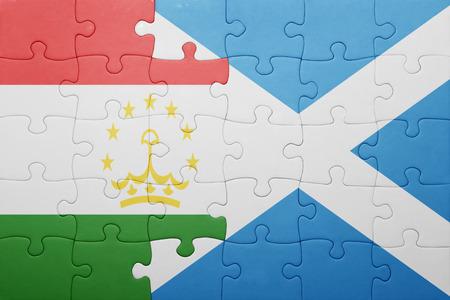 economy of tajikistan: puzzle with the national flag of tajikistan and scotland . concept